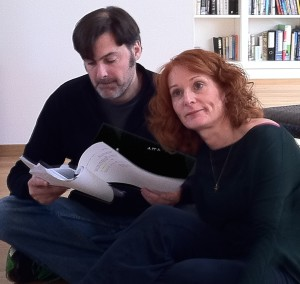 Timothy Lone and Rhona Richards rehearsing DO YOU WANT TO KNOW A SECRET?