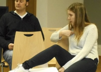 Timothy Lone as Walter and Sarah Lamesch as Erika in rehearsal for DO YOU WANT TO KNOW A SECRET?
